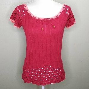 Crochet Trimmed Short Sleeved Sweater L